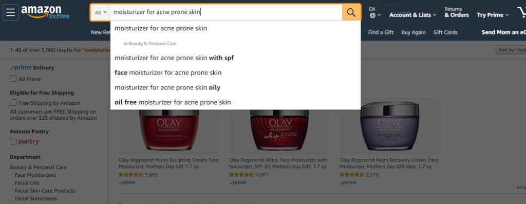 Image of related searches on Amazon.com when searching for term moisturizer for acne prone skin