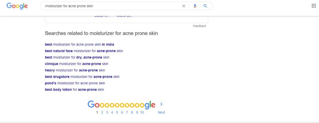 image showing related searches at bottom of Google Search Results Page for term moisturizer for acne