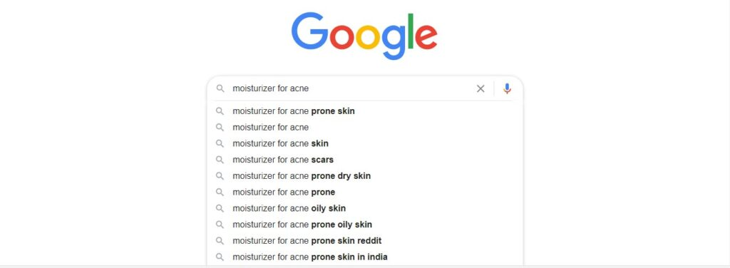 Image of alternate terms in Google search for query moisturizer for acne