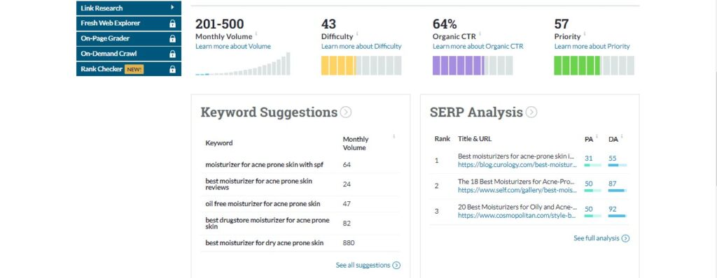 Image of keyword suggestions from Moz's keyword explorer tool