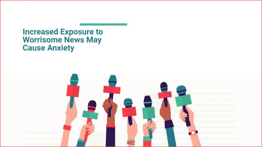 Illustration of hands holding microphones with the text - Increased Exposure to Worrisome News May Cause Anxiety